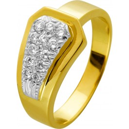 Brillant Diamant Ring Gelb Gold 750 zus 0,20ct TW VVSI Gürtelschnallenoptik 17,2mm 5,3 Gramm
