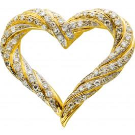 Diamant Herz, 64 Diamanten,8/8 TW/VVSI zus. 0,70ct Gelbgold Weissgold 585,21x25mm