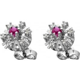Antike Ohrstecker Weissgold 585 mit 2 Rubinen, 12 Diamanten zus. 0,12ct 8/8 W/P