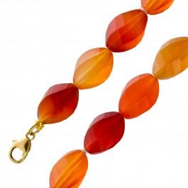 Antike Edelsteinkette orangefarbenen Carneol Steinen Gelbgold 333 um 1980
