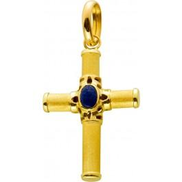 Edelsteinkreuz Anhänger Gelbgold 585, Lapislazuli Cabochon