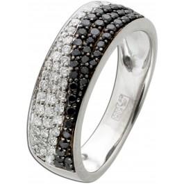 Brillant Ring Weissgold 585 43 Schwarzen 43 Weisse Brillanten TW/VSI 0,86 Carat