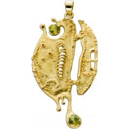 Seepferdchen Anhänger Gelbgold 18 Karat 2 grüne Peridot Edelsteine 50,8x25,6mm