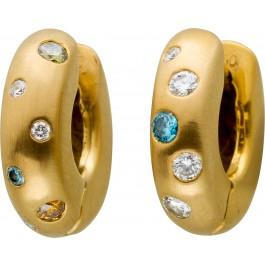 Designer Brillant Scharnier Klapp Creolen Gelbgold 750/- mit 11 Farbigen Brillanten 0,25ct Exclusive Einzelanfertigung mit Görg Zertifikat