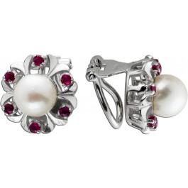 Antike Perlen-Rubin Ohrringe Clips 1960 Weißgold 14Karat 12 rote Rubine 0,36ct. 2 Japanische Akoyperlen AAA Perlenqualität  8mm DRM, mit Görg Zertifikat