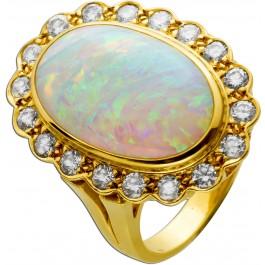 Ring Gelbgold 750 18 Karat 1 Opal Edelstein cirka 7,5ct 18 Brillanten Lupenrein bis VVS feines weiß 18mm Rarität Sammlerstück