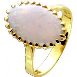 Antiker Australischer Opal Edelstein Ring Gelbgold 14 Karat 585 Vollpopal Cabochon um 1960 ungetragen 20mm