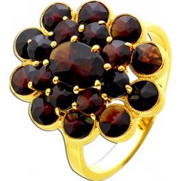 Edelstein Ring Antik um 1900 Gelbgold 8 Karat 19 böhmische Granat Edelsteine 16,5mm