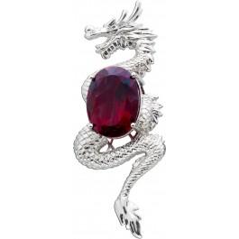 Drachen Anhänger roter Stein Zirkoniaanhänger Sterling Silber 925 Drache