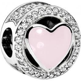 PANDORA Charms 792034CZ - Wundervolle Liebe - Silber 925 klarer cubic Zirkonia rosa Emaille