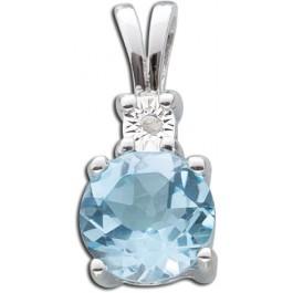 Diamantanhänger Blautopas Sterling Silber 925