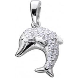 Delfin Anhänger Kinderschmuck Silber 925 Kettenanhänger Zirkonia