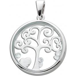 Medaillon Anhänger Silber 925 Lebensbaum Glas Kristalle
