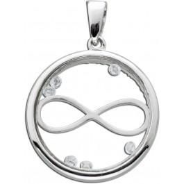Medallion Anhänger Silber 925 Glas Unendlichkeitszeichen Infinity Kristalle