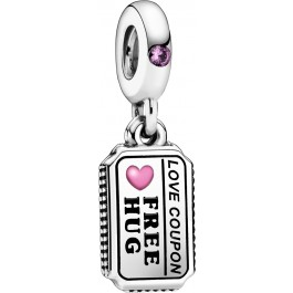 Pandora Charm Anhänger 798703C01 Love Coupon Silber 925 pink synth. saphire mix emaille