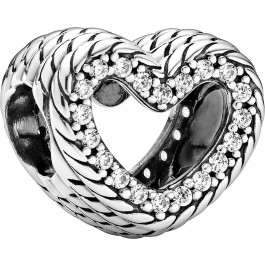 Pandora Icons Charm 799100C01 Snake Chain Pattern Open Heart Silber 925 Klare Zirkonia
