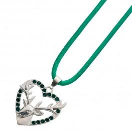 Trachtenschmuck Trachtenkette Grün Anhänger Herz Anhänger Metall Stoff Crystal Blue