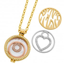 Medaillon Halskette silber rose gold farben Perlmutt 3 Coins Ankerkette Metall Set Perlmutt Zirkonia Crystal Blue