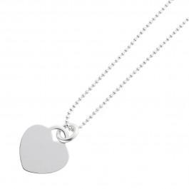Halskette IDKette Gravurkette Herz Sterling Silber 925 Zirkonia ID-Anhänger Silberplatte