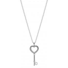 PANDORA SALE Halskette 396581CZ-80 Herzschlüssel Medaillon Sterling Silber 925 80cm Länge