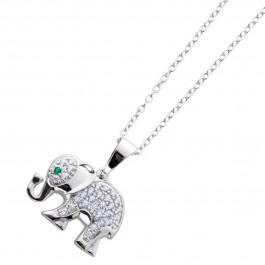 Elefantenkette Sterling Silber 925 Ankerkette Zirkoniaschmuck
