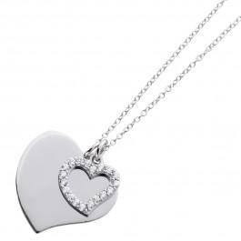 Herzkette gravierbar Sterling Silber 925 Zirkonia Ankerkette personalisierbarer Schmuck