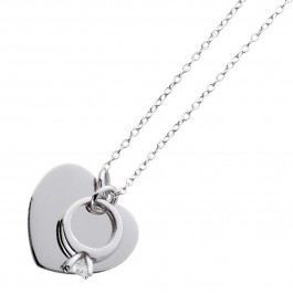 Herzkette gravierbar Sterling Silber 925 Zirkonia ID Ankerkette personalisierbarer Schmuck Gravur Ring