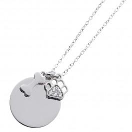 Herzkette gravierbar Sterling Silber 925 Zirkonia ID Hundknochen hundepfote personalisierbarer Schmuck Gravur Ring