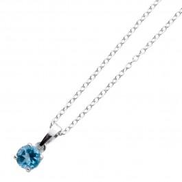 Blautopas Anhänger Silberkette Ankerkette blauer edelstein Sterling Silber 925
