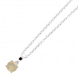 Opal Anhänger Kette Silber 925 weißer Edelstein äthiopisch Ankerkette