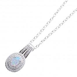 Opalanhänger hell weiss blau kette Sterling Silber 925 Zirkonia synthetisch