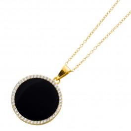 Onxykette schwarz Silber 925 vergoldet klare Zirkonia