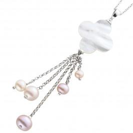 Anhänger kette Silber 925 Perlmutt Kleeblatt weisse perlen 41cm