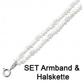 Perlenkette Perlenarmband Kette Armband Perlen weiß Edelstein Quarz Silber 925