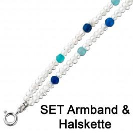 Perlenkette Perlen Armband Kette Set weiß Edelstein blau türkis Achat Silber 925