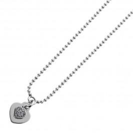 Herzkette Silber 925 Kugelkette Herzanhänger klare Zirkonia Damen 42+5cm