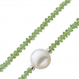 Facettierte Peridots Edelstein Kette Collier grün Süsswasserperle 10mm Silber Federringverschluss 925 38+7cm