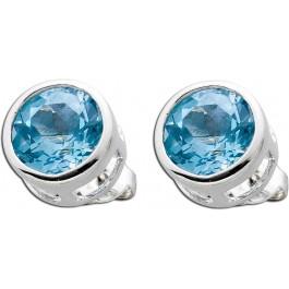 Blautopas Ohrstecker Silber 925 blauer Edelstein