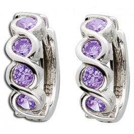 Amethyst Scharnier Creolen grosse lila Edelstein Silber 925 violetter Klappcreolen