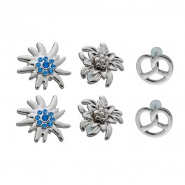 Trachtenschmuck Ohrringe Ohrstecker Edelweiss Brezel silber farbenes Metall Set 3 Paar Crystal Blue
