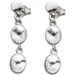 Ohrstecker Silber 925 Ohrringe weiß Kristall Ohrhänger