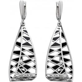 Ohrringe Silber 925 Ohrhänger schwarz modern
