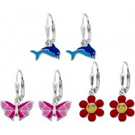 Buntes Kinder Ohrhänger Set 3-Teilig Silber 925 Schmetterling Delfin Blume