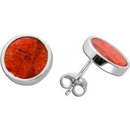 Ohrstecker Silber 925 Ohrringe rot Koralle rund Ohrschmuck