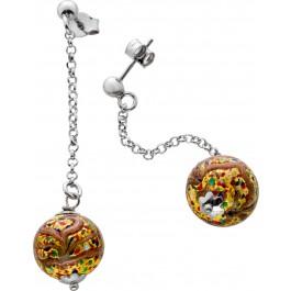 Lange Ohrstecker Muranoglas Kugeln Ohrringe Silber 925 Multicolor bunt