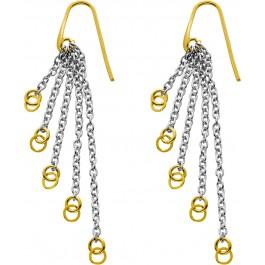 Bewegliche Ohrhänger teils vergoldetem Silber 925 Kettenstränge Damenschmuck