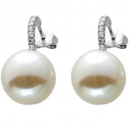 Ohrstecker Silber 925 mit 20 Zirkonia und 2 weißen Perlen
