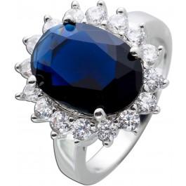Ring Silber 925 Saphir nachtblau synthetisch Edelsteinring