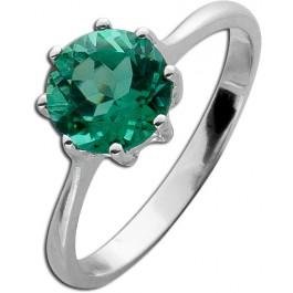 Grüner Edelsteinring Silber 925 grüner synth. Quarzstein