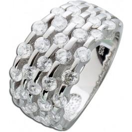 Zirkonia Ring Silberring Zirkoniaring Sterling Silber 925 klare weisse Zirkonia 5-reihig gefasst